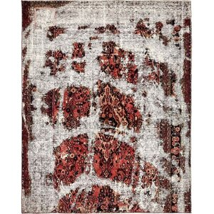 Sela Vintage Persian Hand Woven Wool Red Border Area Rug with Fringe