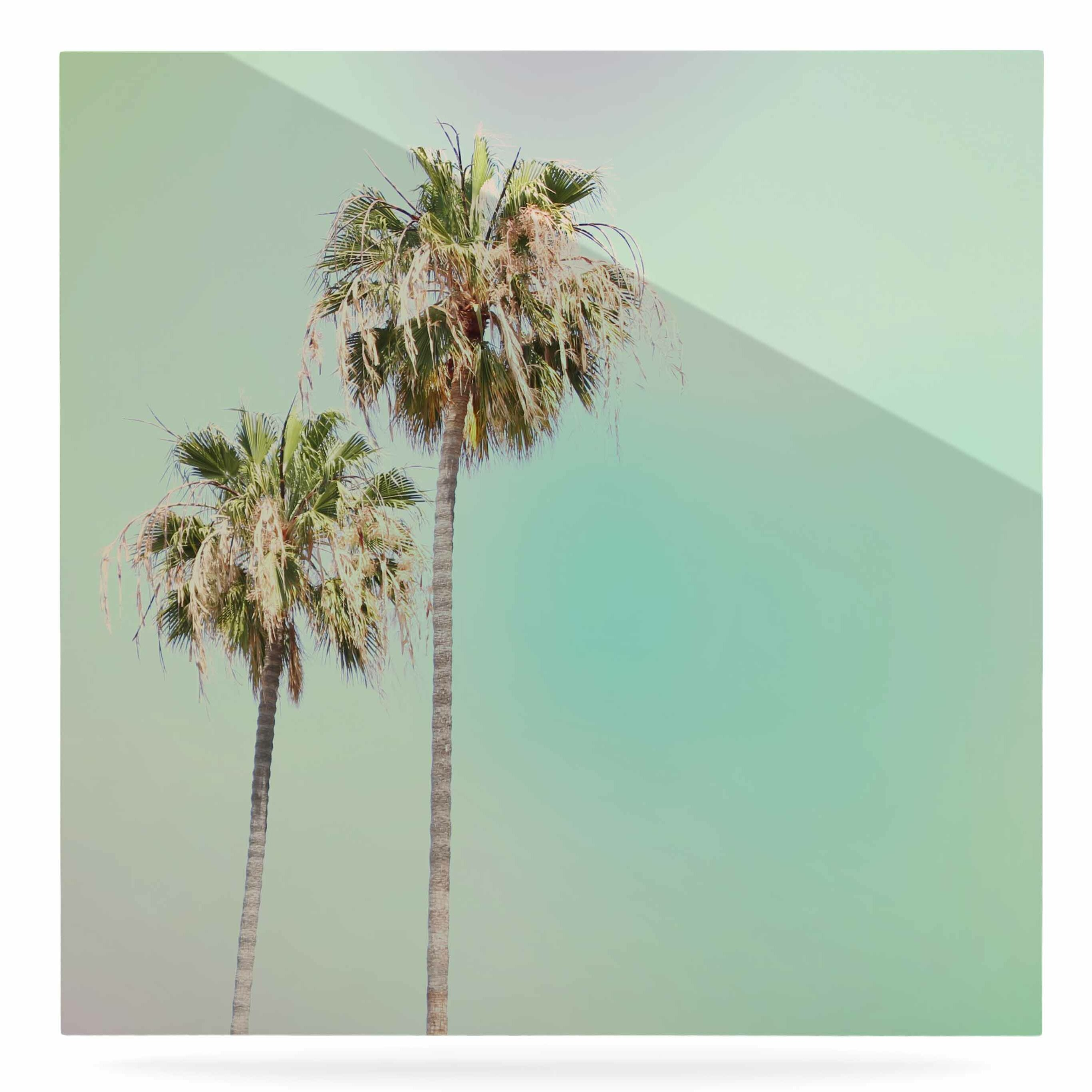 East Urban Home \'Pastel Palm Trees\' Photographic Print on Metal ...