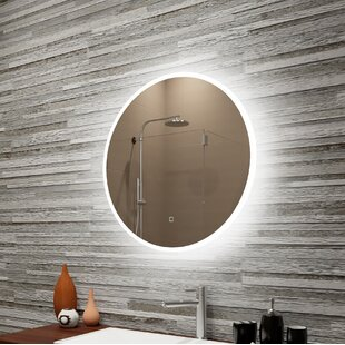 Bondurant Reflection Dimmable Led Lighted Round Frosted Edge Bathroom Vanity Mirror