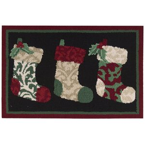 Christmas Hand Hooked Green Area Rug