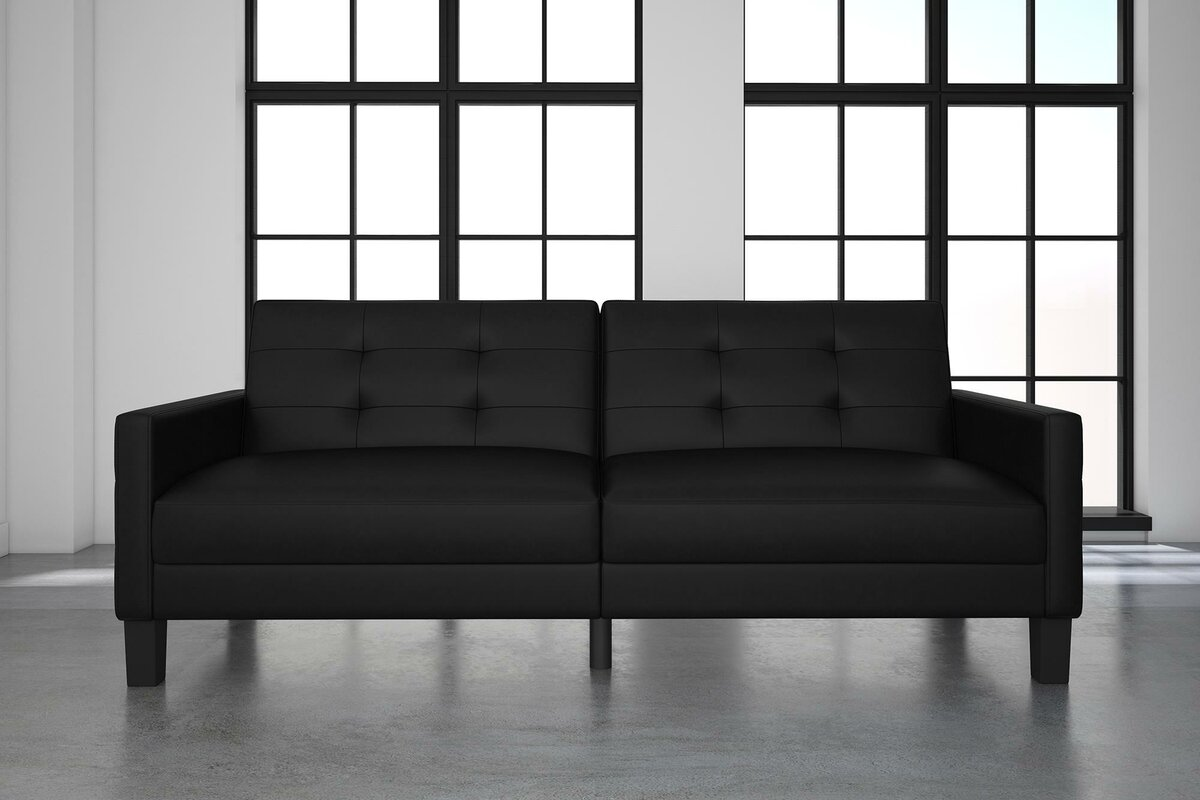 ebern designs anabelle faux leather convertible sofa  reviews . anabelle faux leather convertible sofa