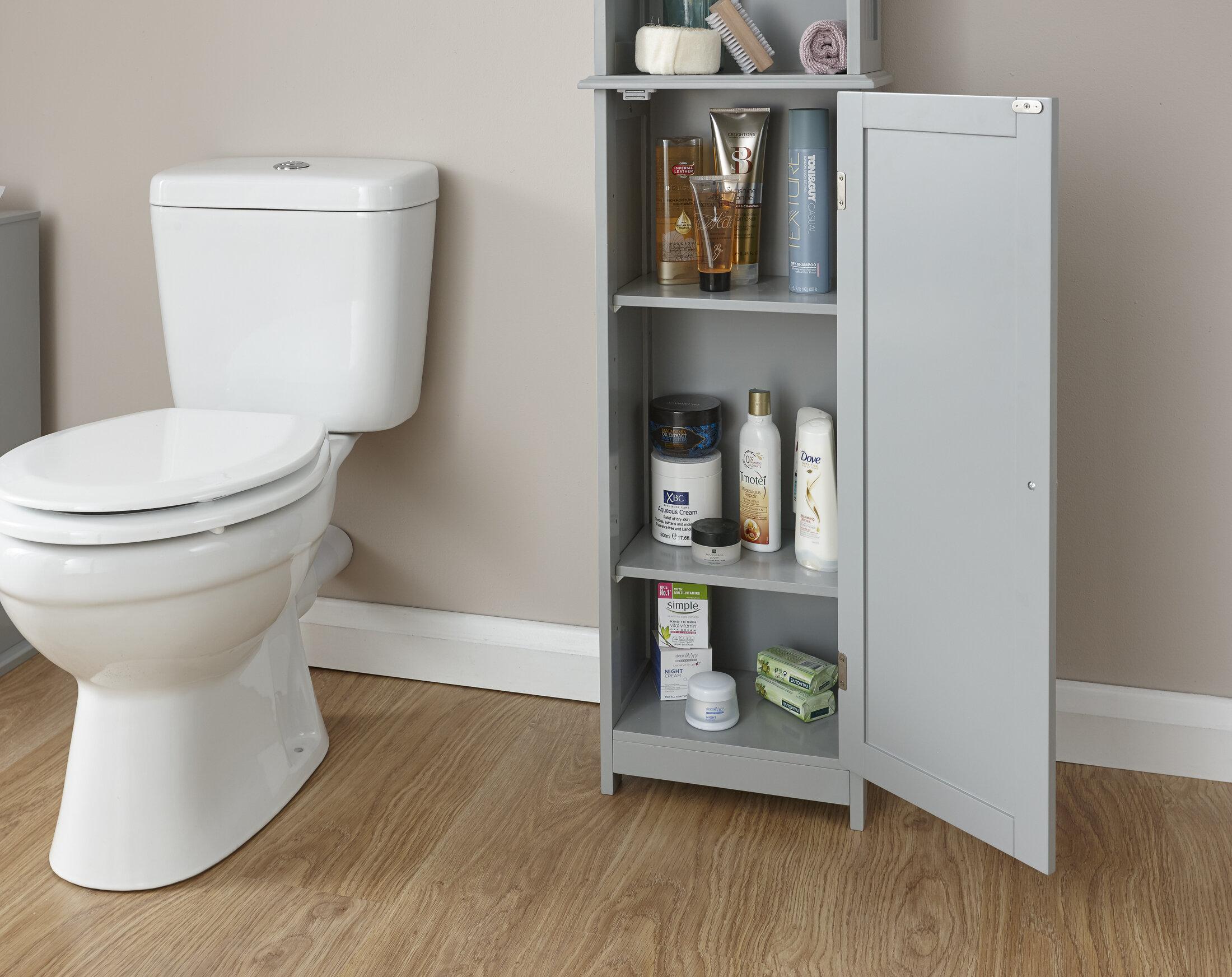 Tall Grey Bathroom Cabinet Wayfair Co Uk