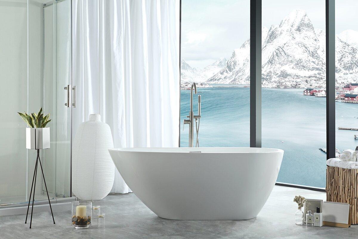 Eisen Home Poseidon Freestanding Soaking Bathtub & Reviews | Wayfair