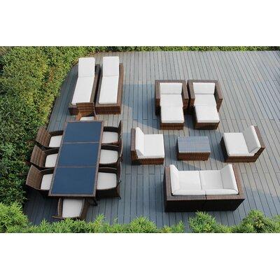 Orren Ellis Baty 20 Piece Complete Patio Set with SUNBRELLA Cushions Cushion Color: Sunbrella Natural, Frame Finish: Mixed Brown