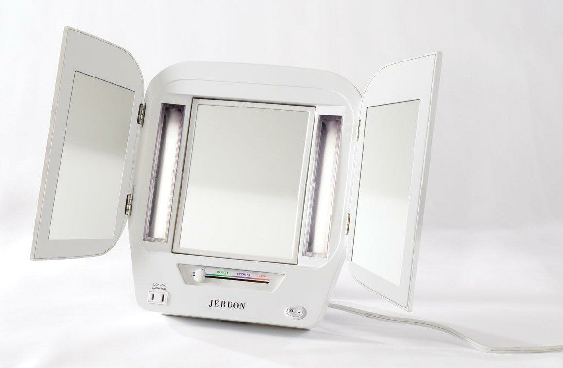 Jerdon Euro Tabletop Dual Sided Tri Fold Lighted Makeup Mirror With