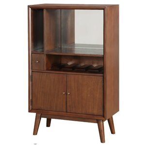 Ripton Mid-Century Modern Mirrored 4 Bottle Floor Wine Cabinet