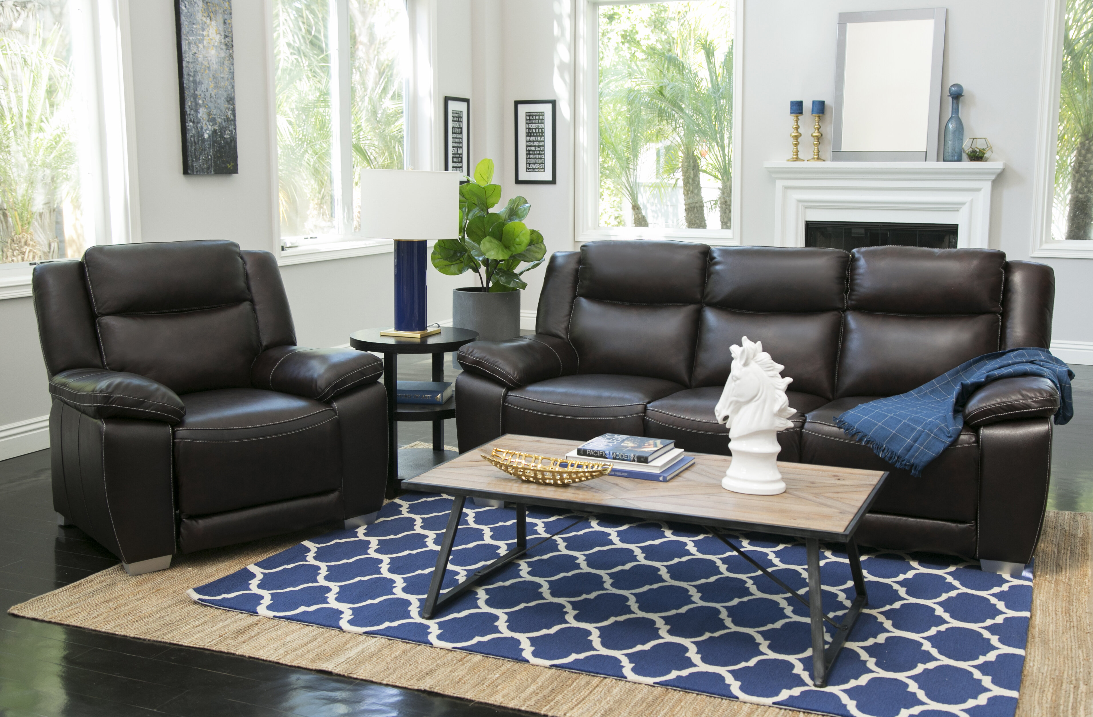 Red barrel studio evansburg reclining 2 piece leather living room set wayfair ca