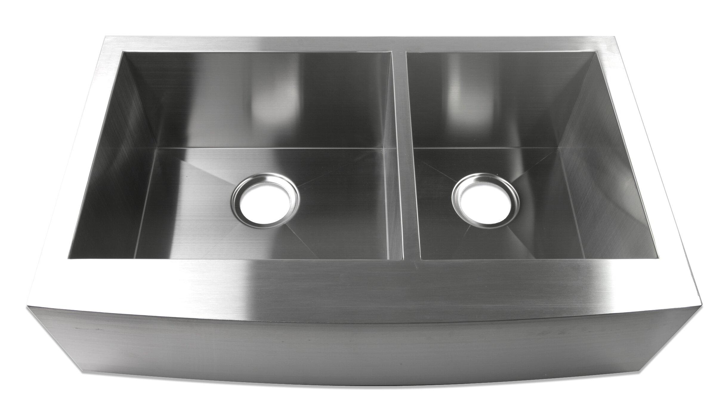 Luxier 33 X 20 Farmhouse A 60 40 Offset Double Bowl Stainless Steel Handmade Zero Radius Kitchen Sink Wayfair