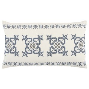 holiday geometric 100 cotton lumbar pillow whiteblue