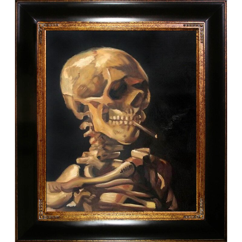Tori Home Skull Of A Skeleton With Burning Cigarette By
