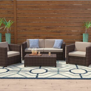 Check New Price Kappa 4 Piece Rattan Sofa Set with Cushions Mercury Row