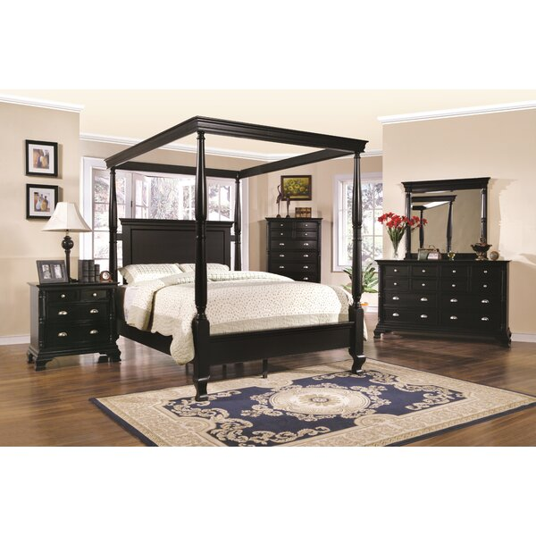 Dumont Cherry 6 Pc Queen Canopy Bedroom - Bedroom Sets Dark Wood