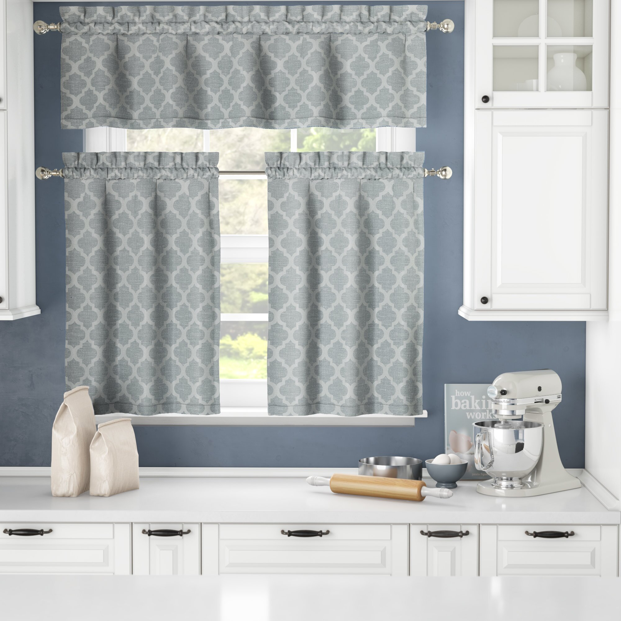 Darby home co otis 3 piece jacquard kitchen curtain set reviews wayfair