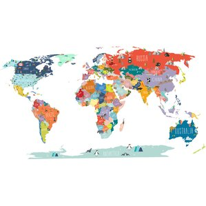 World Interactive Map Wall Decal