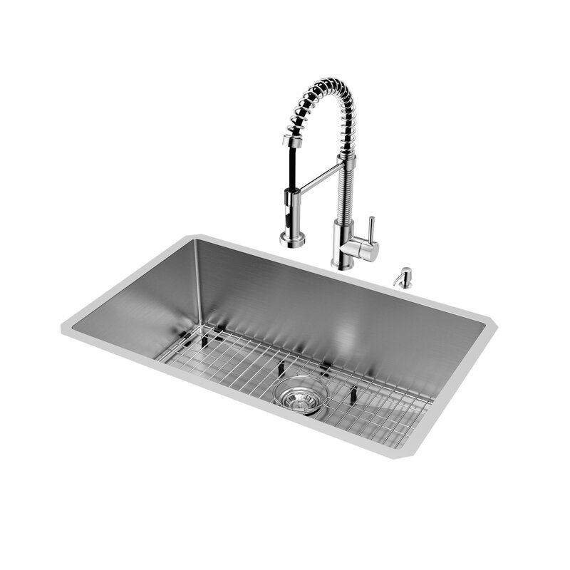 Superbe 30 Inch Undermount Single Bowl 16 Gauge Stainless Steel Kitchen Sink With  Edison Chrome Faucet,