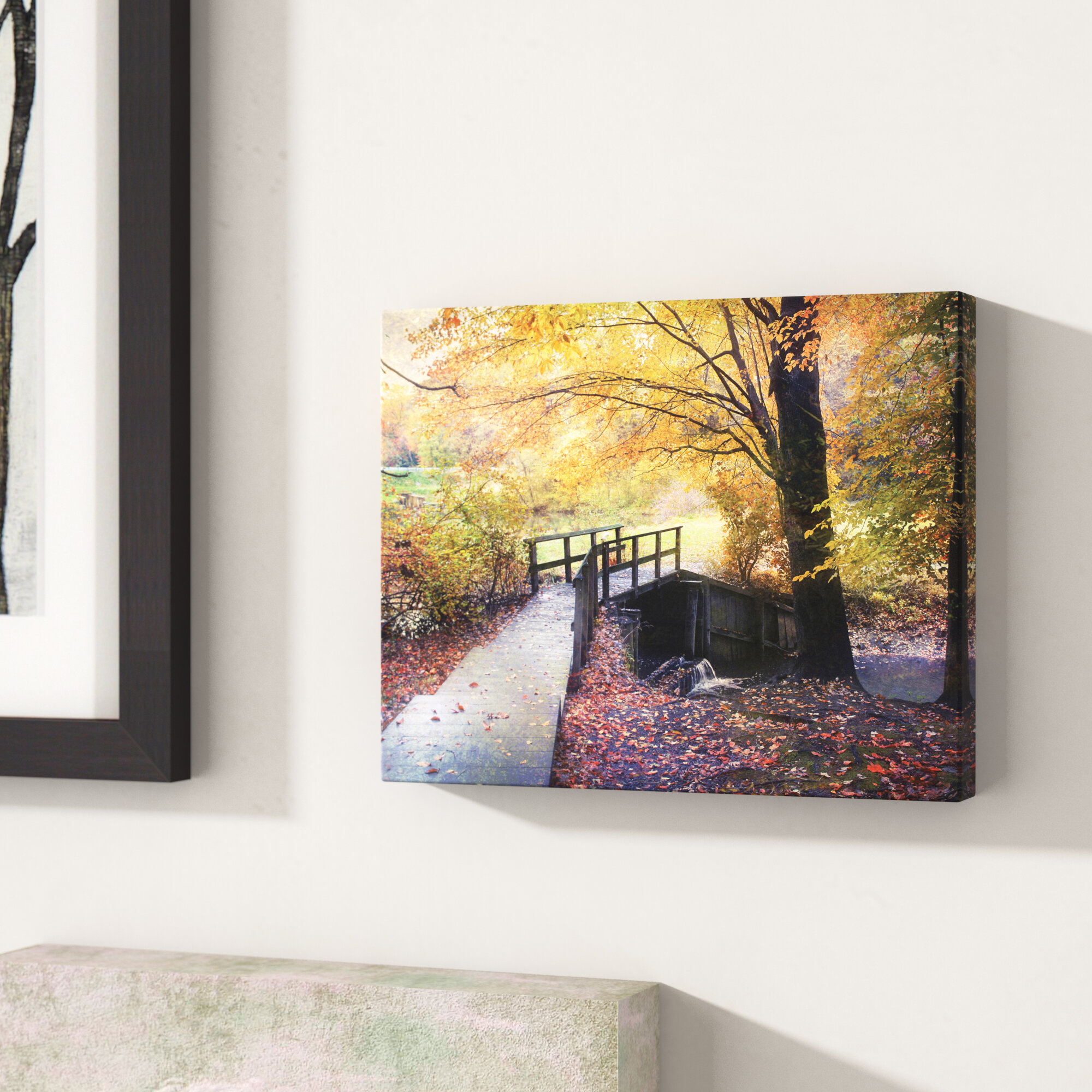 Charlton Home \'Foot Bridge\' Photographic Print On Wrapped Canvas ...