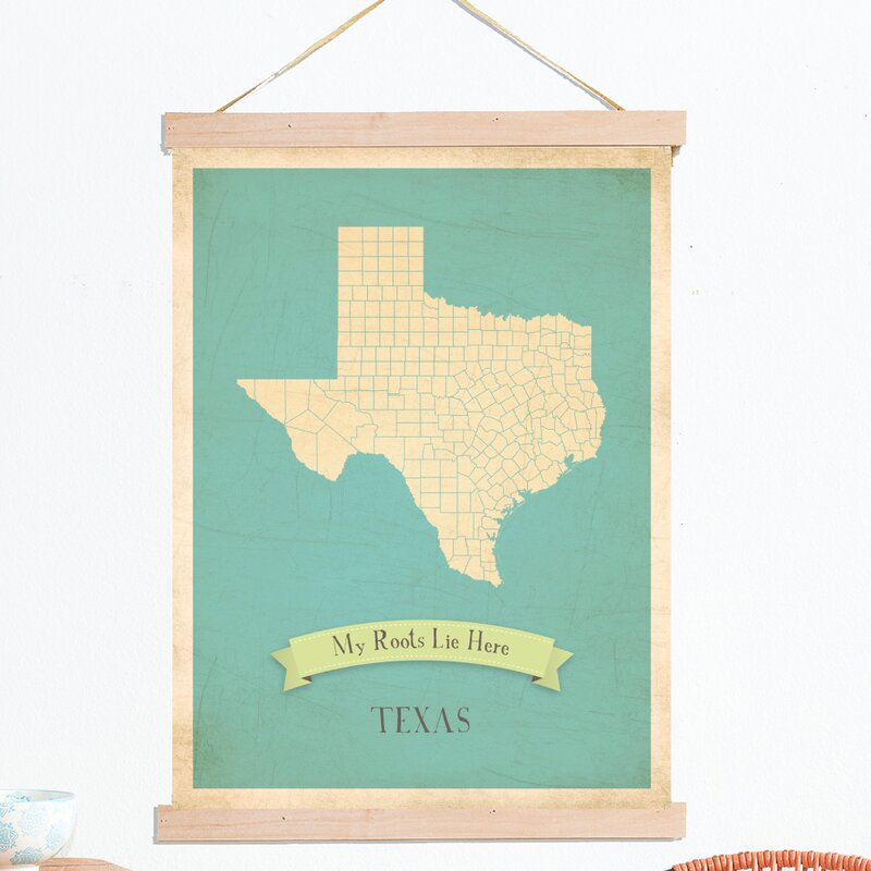 my roots texas state map tapestry graphic art on canvas