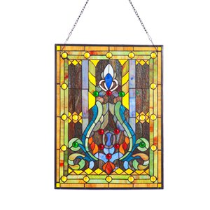 Fleur de Lis Tiffany Style Stained Glass Window Panel
