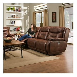 Crescent Leather Reclining Sofa by Southern ..