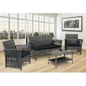 Manhattan Beach 4 Piece Deep Sunbrella Seating Group with Cushions