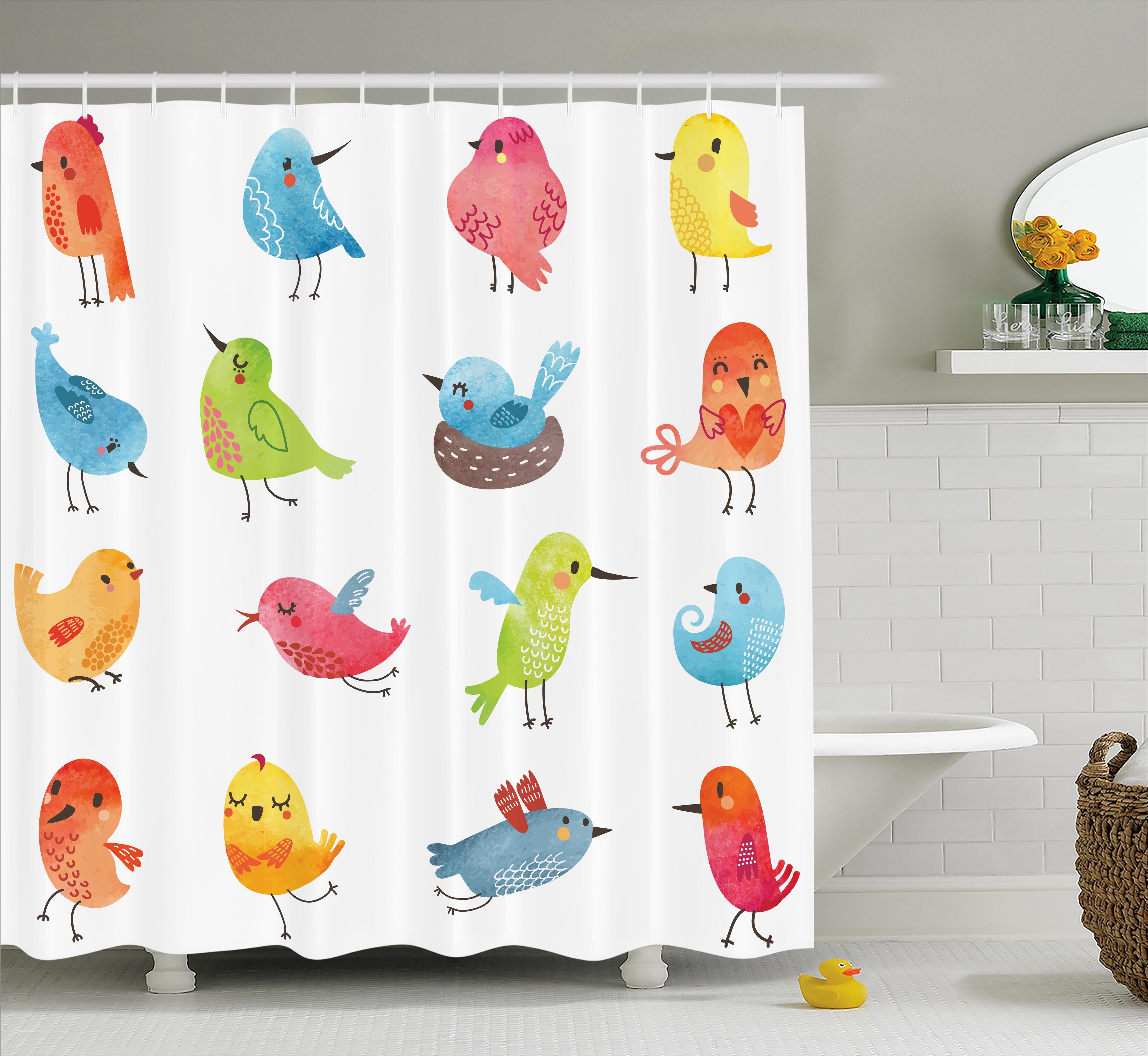 Zoomie Kids Lottie Colorful Cute Humor Bird Shower Curtain