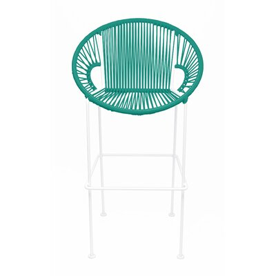 Brayden Studio Croft Counter 26 Patio Bar Stool Seat Color: Turquoise, Frame Color: White