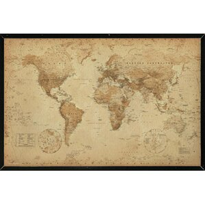 U0027World Map Antiqueu0027 Rectangle Framed Graphic Art Print Poster. U0027