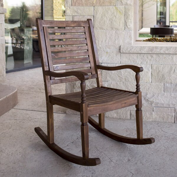 Imene Solid Acacia Wood Patio Rocking Chair