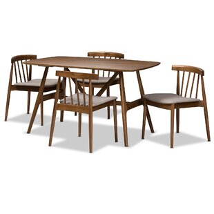 Watkin Mid-Century Modern 5 Piece Breakfast Nook Dining Set