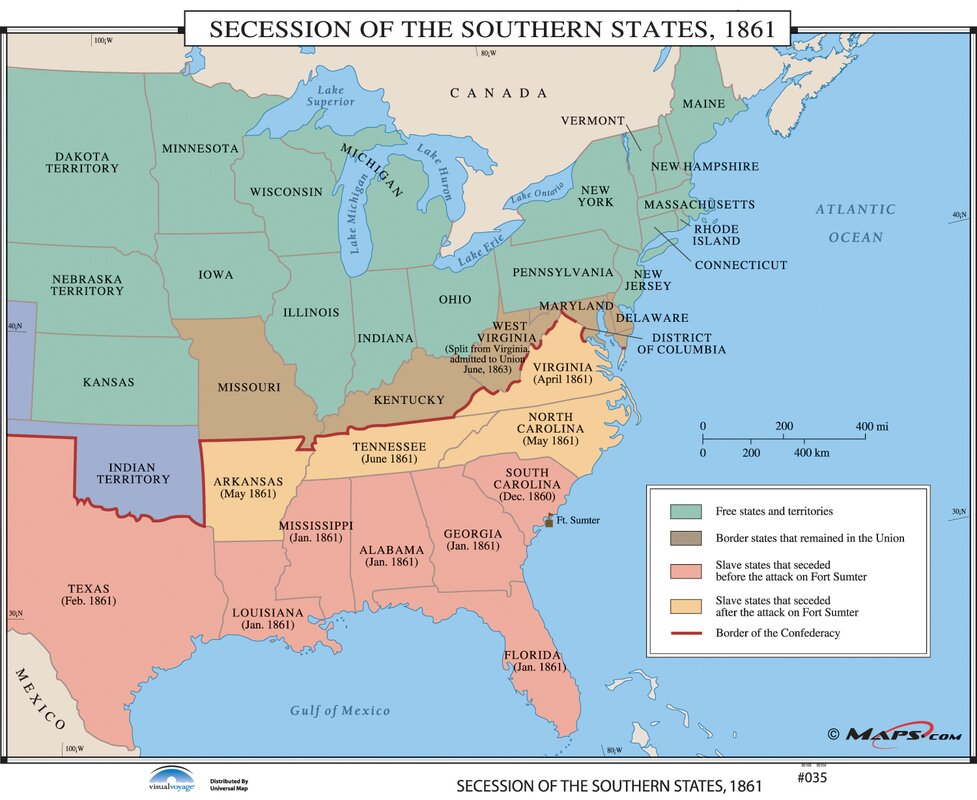 Universal Map US History Wall Maps Secession of the Southern
