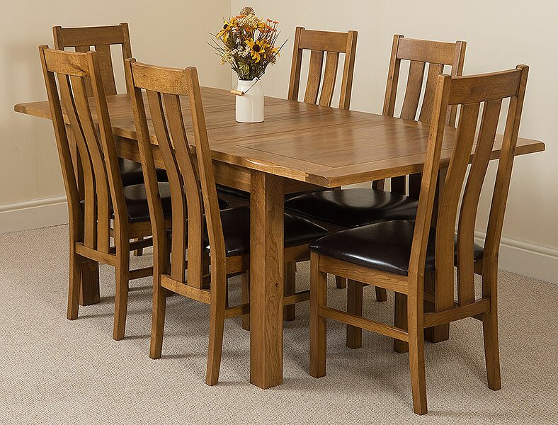 Greenspan Solid Oak Dining Set With 6 Princeton Chairs