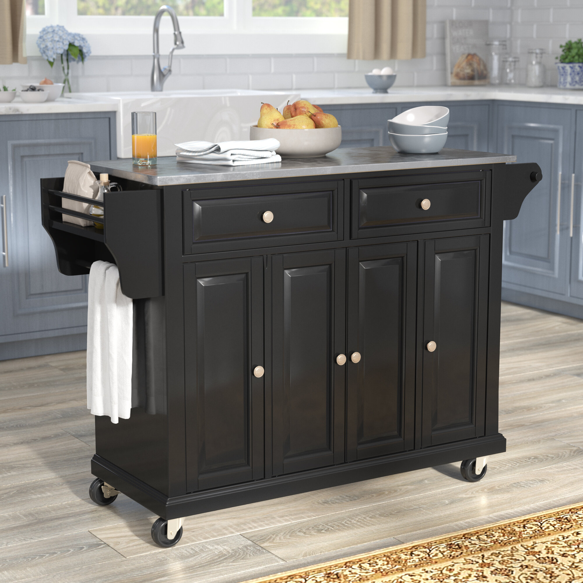 Hedon Kitchen Island With Stainless Steel Top