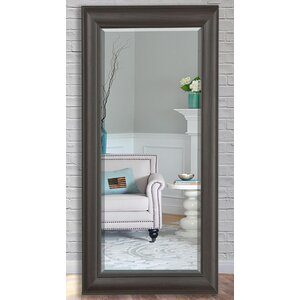 Rectangle Dark Walnut  Beveled Wall Mirror