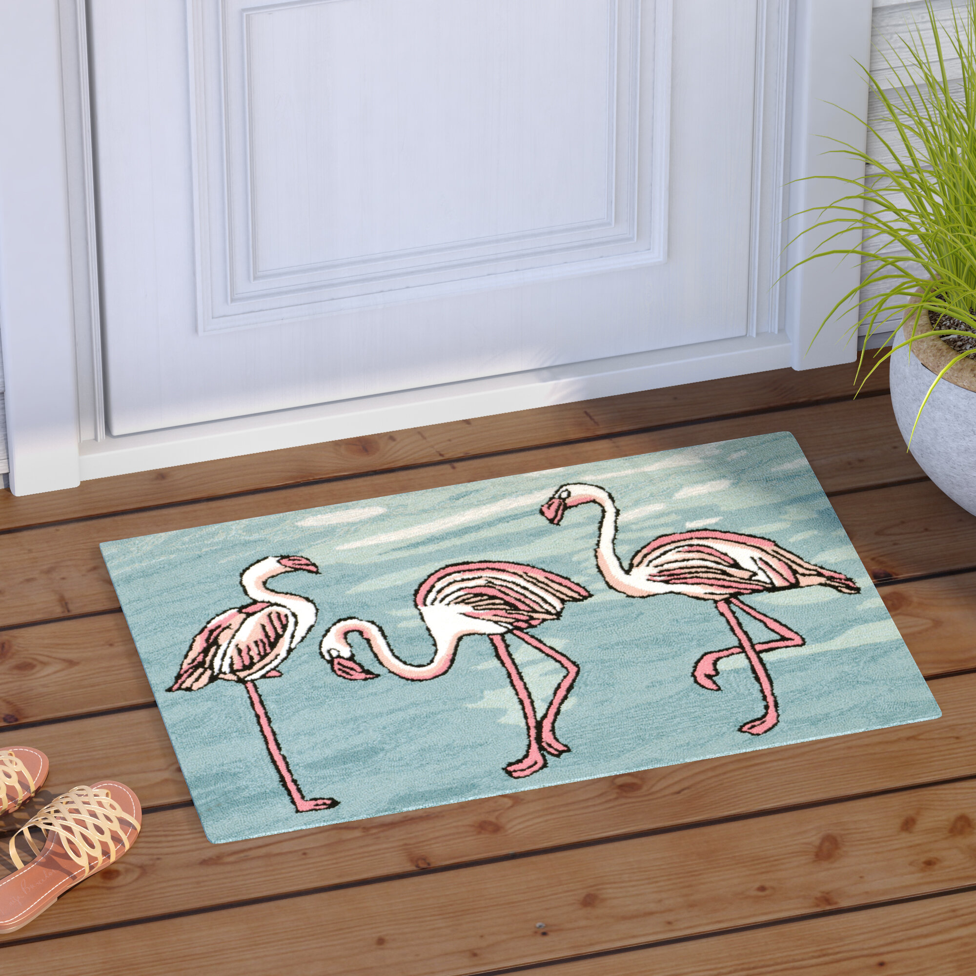 Highland Dunes Boller Flamingo Handmade Blue Indoor Outdoor Area Rug Reviews Wayfair