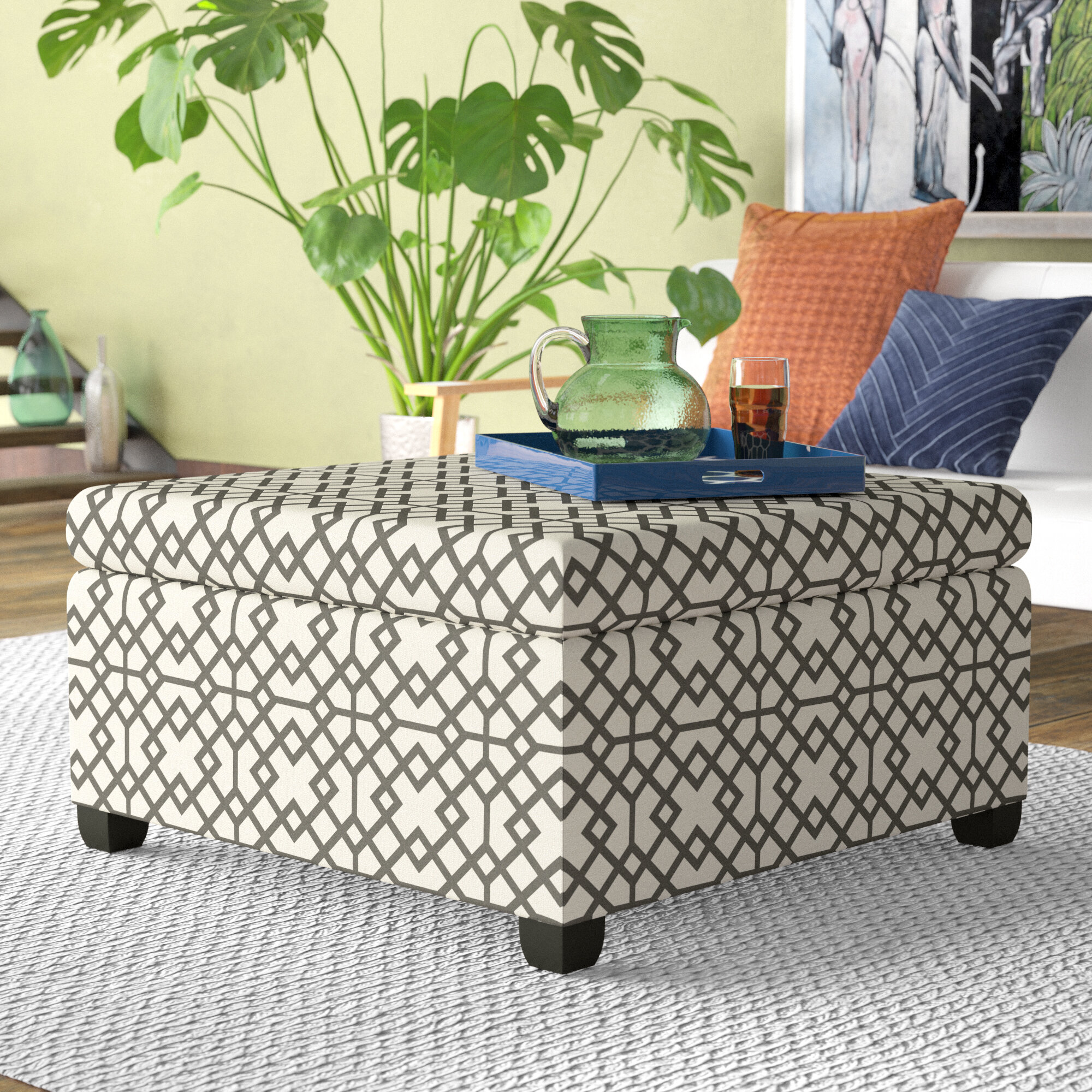 number floral signature accent by item ashley design products oversized rectangular seafoam ottoman daystar