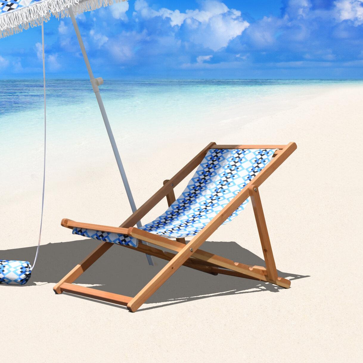 Nice Bungalow Rose Stacey Cabana Reclining Beach Chair | Wayfair