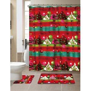 15 Piece Christmas Shower Curtain SetBath Rug Sets You ll Love   Wayfair. Maroon Shower Curtain Set. Home Design Ideas