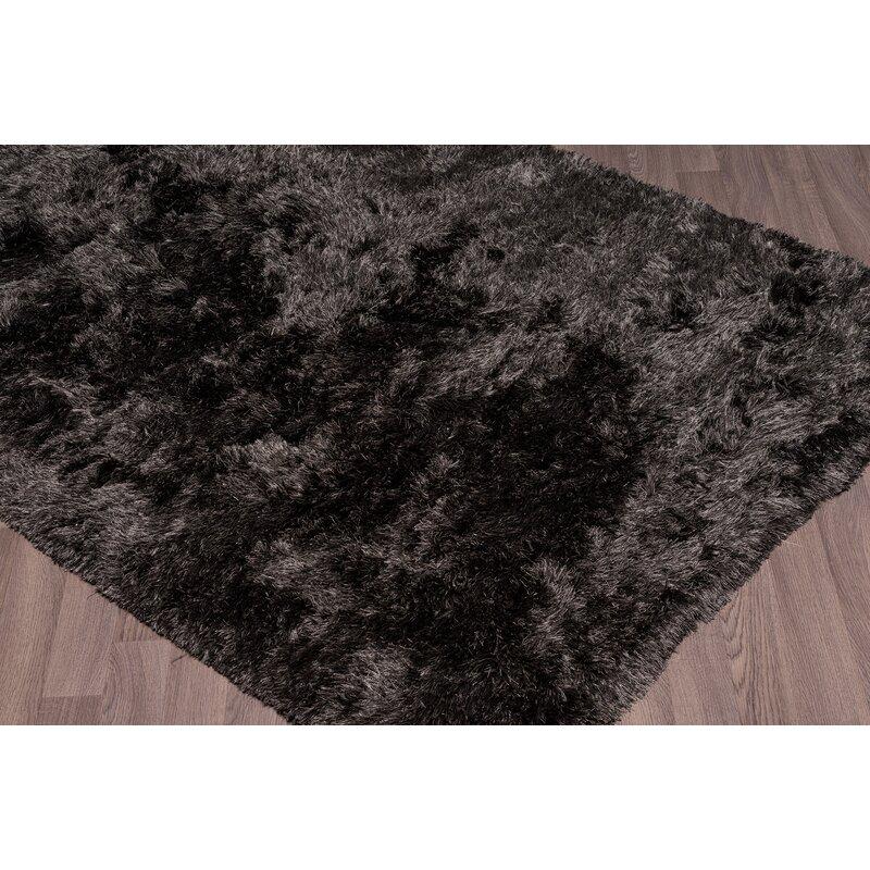 Everly Quinn Lillianna Super Soft Plush Shag Hand Woven Dark Gray