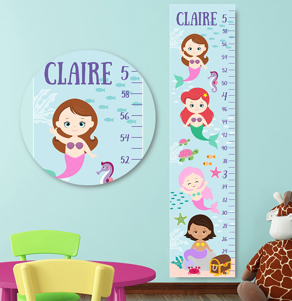 Jolie Prints Personalized Mermaids Height Canvas Decal Growth Chart