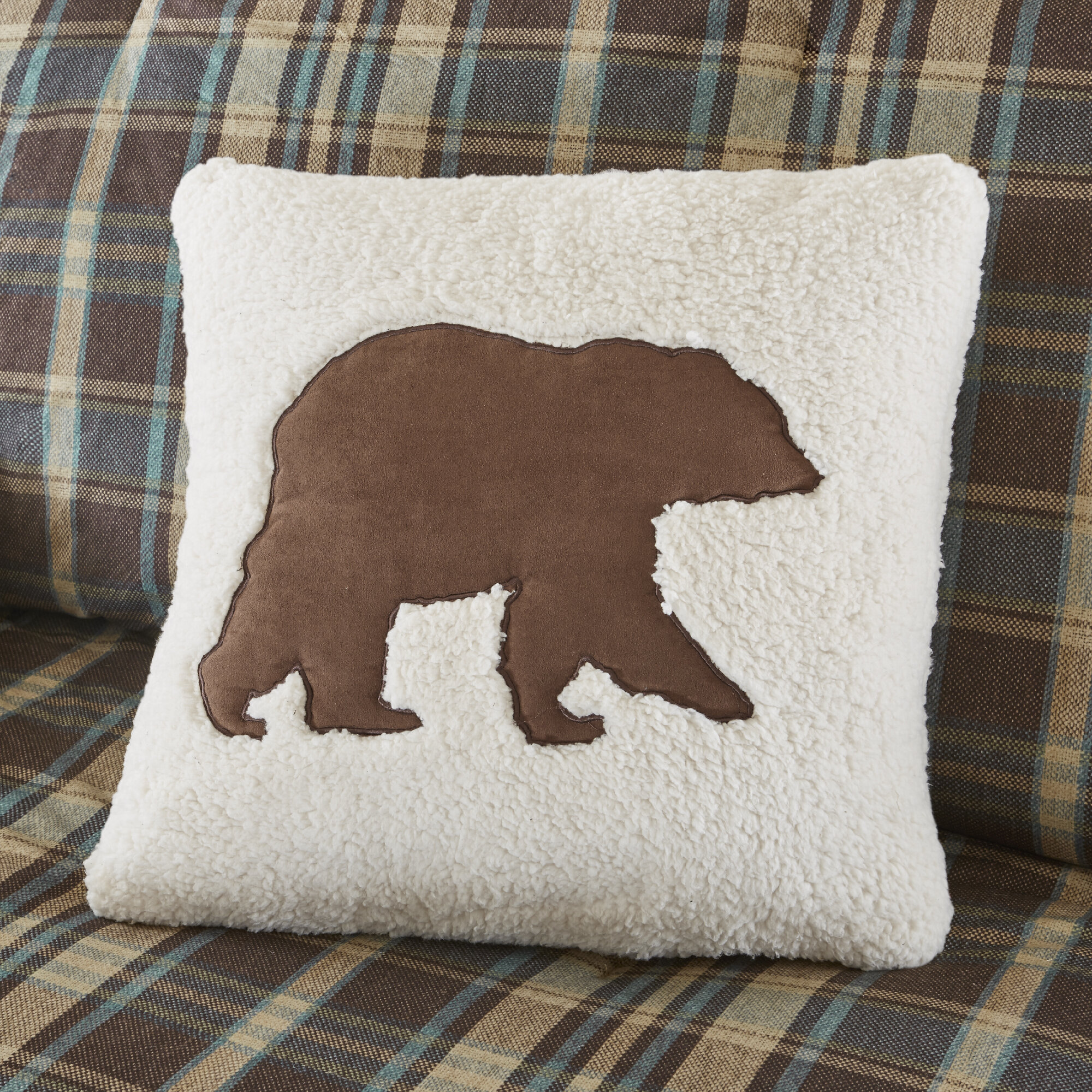 Woolrich Hadley Berber Leather Suede Throw Pillow