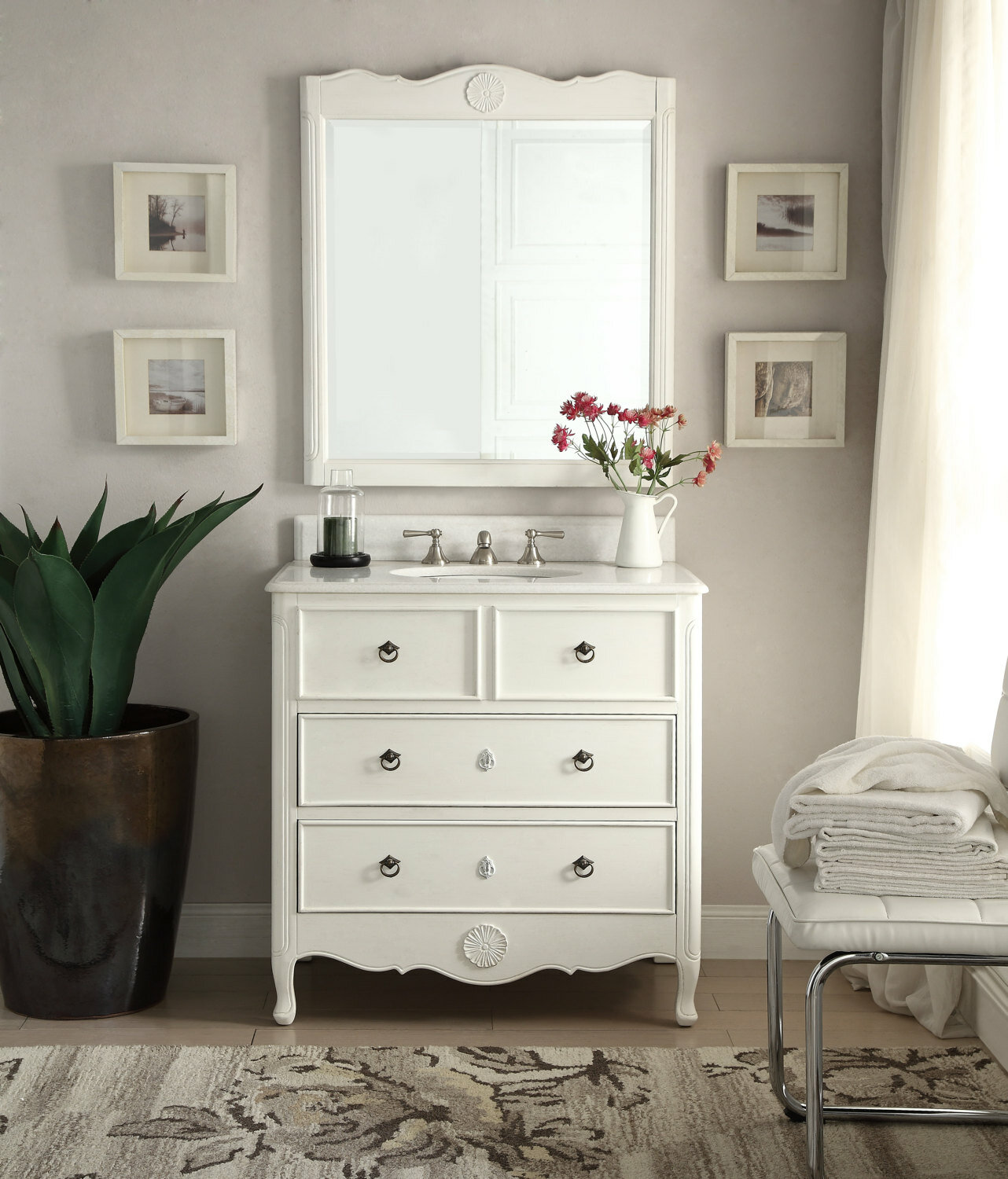 "Nallely 34"" Single Solid Wood Bathroom Vanity Set with Mirror 