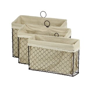 Fieldon 3 Piece Lined Wire Storage Basket Set