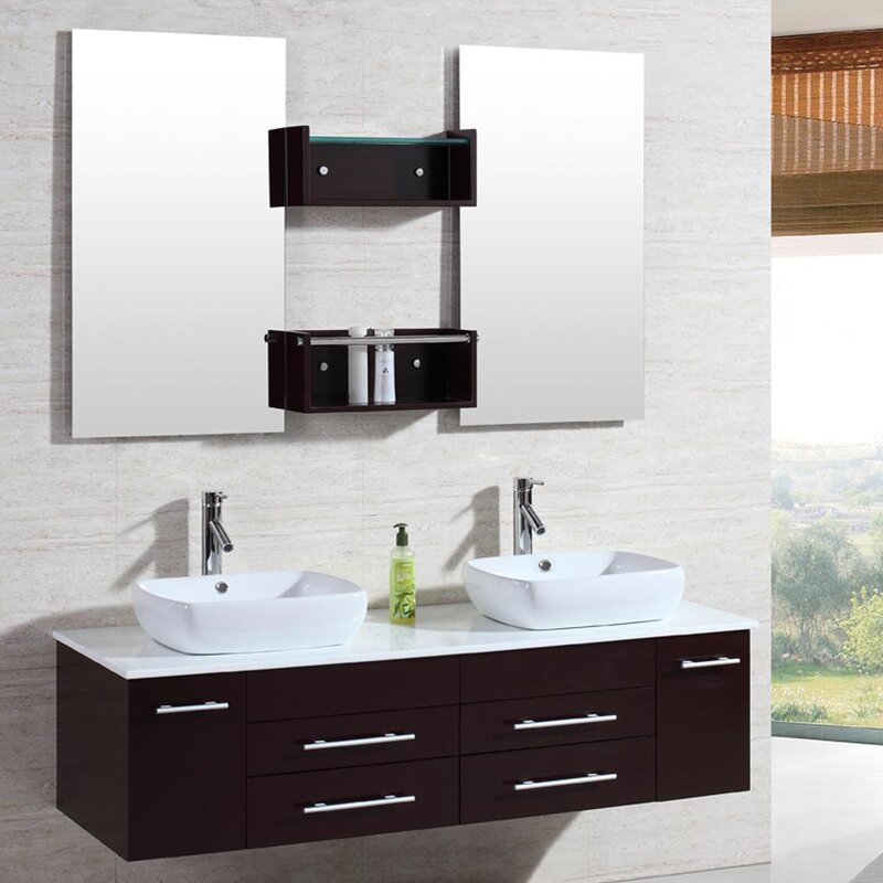 "kokols 60"" double floating bathroom vanity set with mirror"