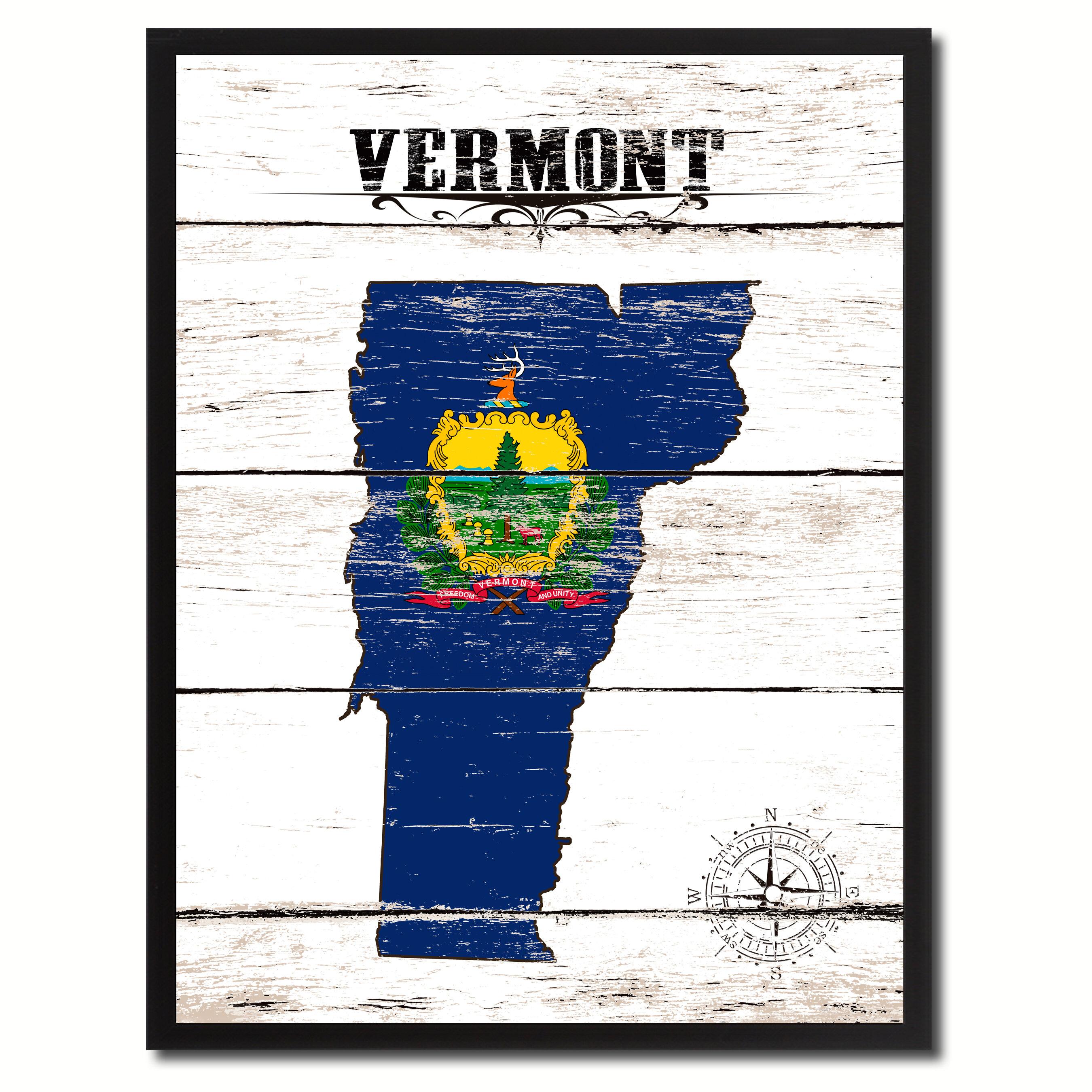 Wrought Studio \'Vermont State Vintage Flag\' Framed Graphic Art Print ...