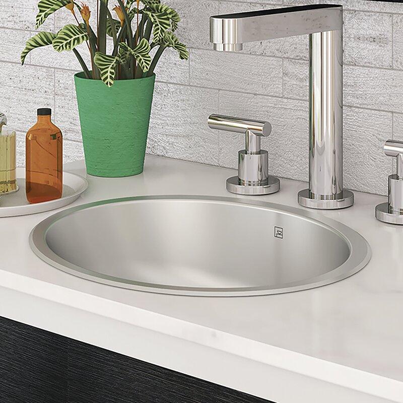 Decolavtaji Stainless Steel Metal Oval Undermount Bathroom Sink With Overflow