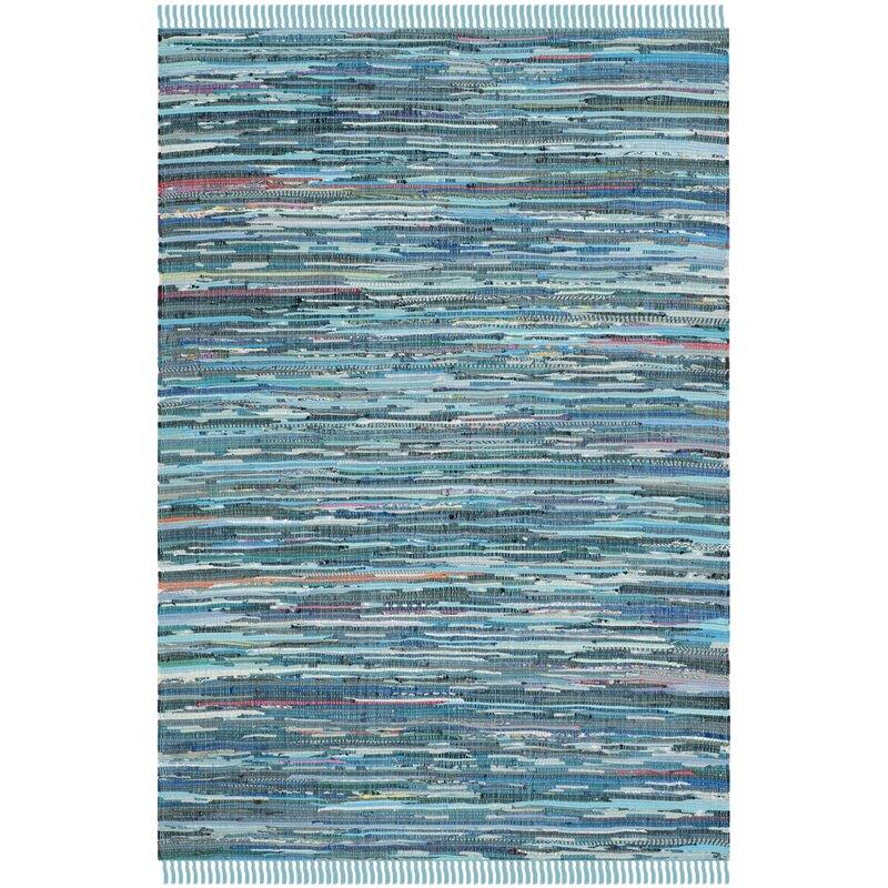 Beachcrest Home Inkom Handwoven Cotton Blue Area Rug