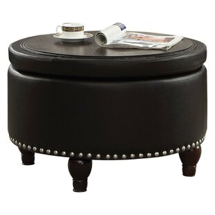 Egger Transitional Round Wood And Leatherette Tail Coffee Table With Storage