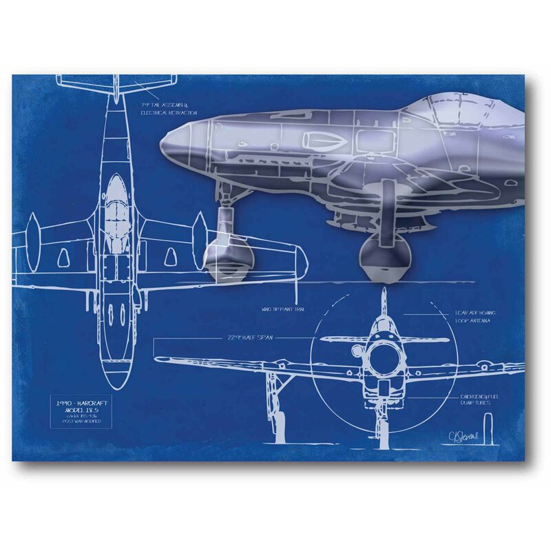 Williston forge airplane blueprint 2 graphic art print on airplane blueprint 2 graphic art print on stretched canvas malvernweather Choice Image