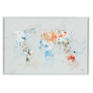 Modern contemporary world wall maps allmodern sylvie world map framed graphic art print on canvas gumiabroncs Choice Image