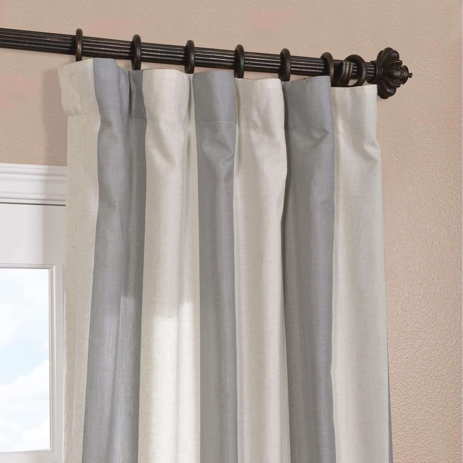 Half Price Drapes Del Mar Linen Blend Stripe Semi Sheer Pinch Pleat Single Curtain Panel